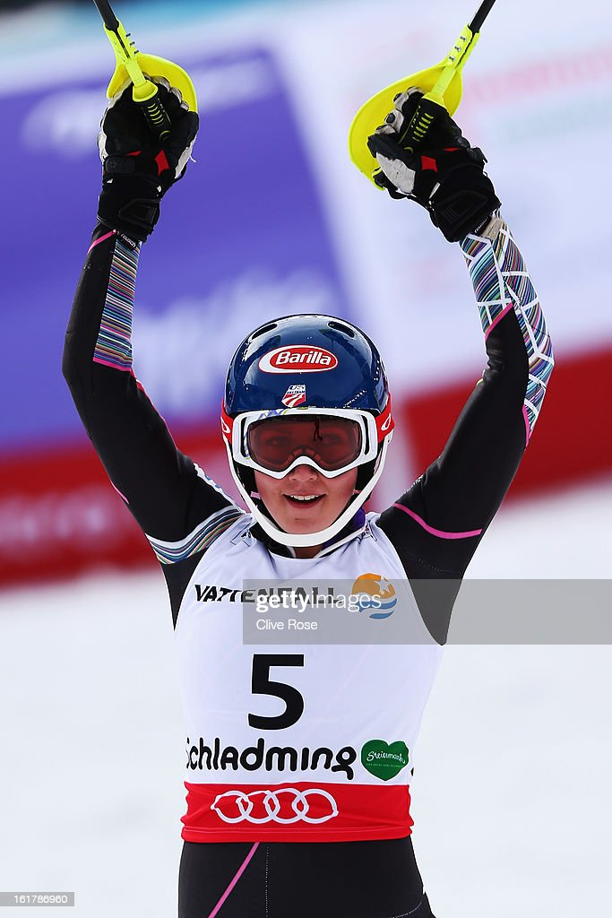 <a gi-track='captionPersonalityLinkClicked' href=/galleries/search?phrase=Mikaela+Shiffrin&family=editorial&specificpeople=7472698 ng-click='$event.stopPropagation()'>Mikaela Shiffrin</a> of the United States of America reacts in the finish area after winning the Women's Slalom during the Alpine FIS Ski World Championships on February 16, 2013 in Schladming, Austria.
