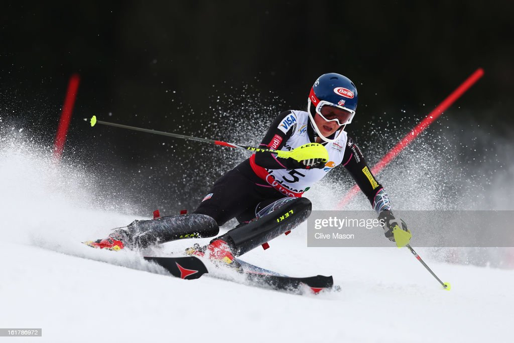 <a gi-track='captionPersonalityLinkClicked' href=/galleries/search?phrase=Mikaela+Shiffrin&family=editorial&specificpeople=7472698 ng-click='$event.stopPropagation()'>Mikaela Shiffrin</a> of the United States of America skis on her way to winning the Women's Slalom during the Alpine FIS Ski World Championships on February 16, 2013 in Schladming, Austria.