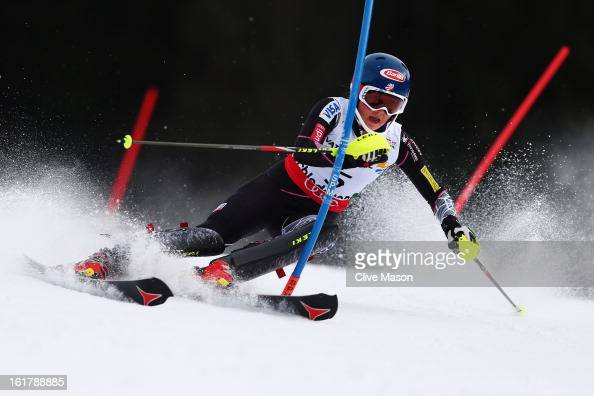 Mikaela Shiffrin of the United States of America skis on her way to winning the Women's Slalom during the Alpine FIS Ski World Championships on...