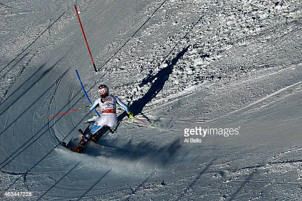 Mikaela Shiffrin of the United States races during the Ladies' Slalom on the Golden Eagle racecourse on Day 13 of the 2015 FIS Alpine World Ski...