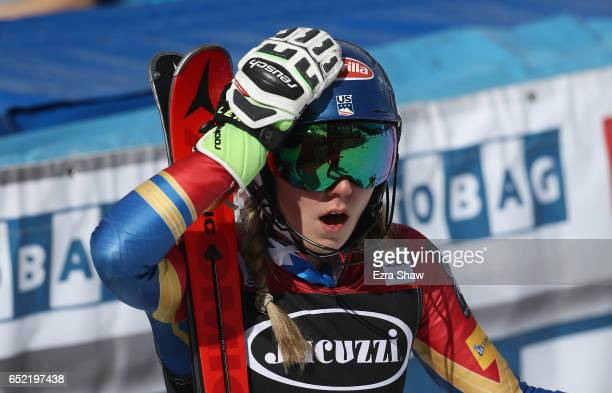 Mikaela Shiffrin of the United States reacts after Wendy Holdener of Switzerland skied off course in the second run that gave Shiffrin the win in the...