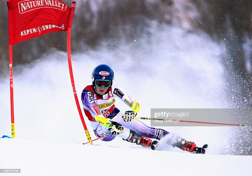 <a gi-track='captionPersonalityLinkClicked' href=/galleries/search?phrase=Mikaela+Shiffrin&family=editorial&specificpeople=7472698 ng-click='$event.stopPropagation()'>Mikaela Shiffrin</a> of the United States skis to sixth place in the the ladies giant slalom during the 2014 Audi FIS Ski World Cup at the Nature Valley Aspen Winternational at Aspen Mountain on November 29, 2014 in Aspen, Colorado.