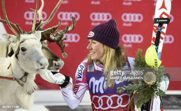 CORRECTION Mikaela Shiffrin of the US poses with a white reindeer named 'Mikaela' she was given after winning the Ladies' FIS Alpine Skiing World Cup...