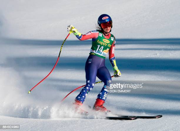 Mikaela Shiffrin of the US slides through the finish in fifth place during the FIS Ski World Cup Women's Super G on December 3 2017 in Lake Louise...