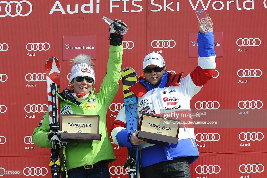 Mikaela Shiffrin of the USA and Alexis Pinturault of France receive the Longines Trophy for the best young skier of the season during the Audi FIS Alpine Ski World Cup Nation's Team event on March 15, 2013 in Lenzerheide, Switzerland.