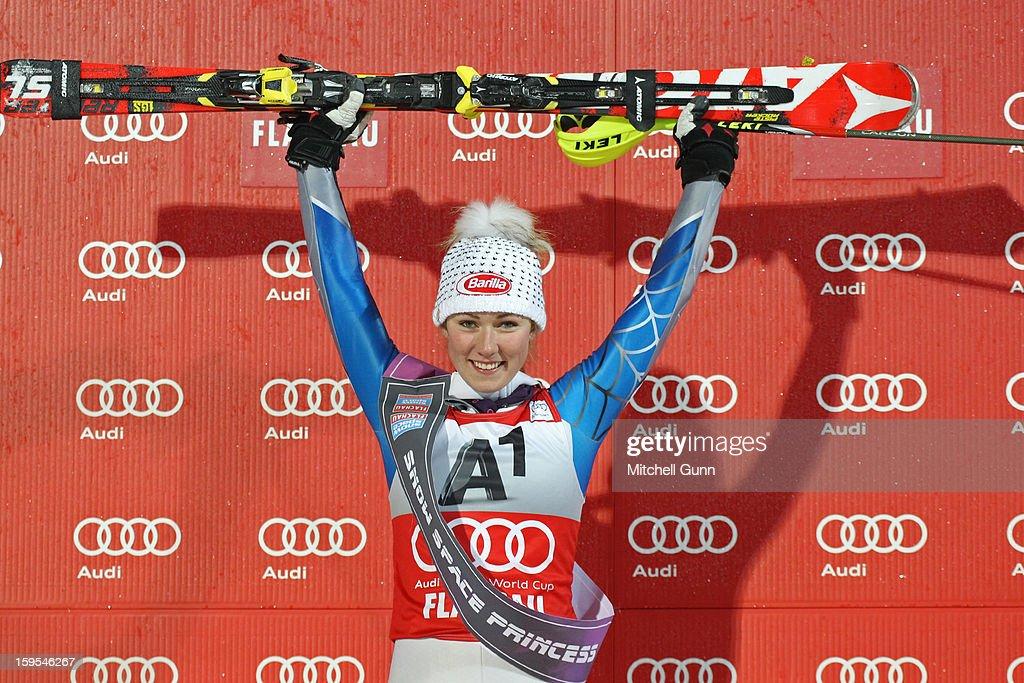 Mikaela Shiffrin of the USA celebrates on the podium after winning the Audi FIS Alpine Ski World Cup Slalom race on January 15, 2013 in Flachau, Austria.