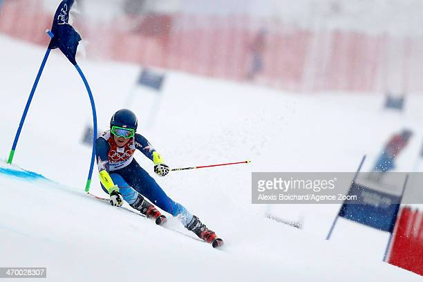 Mikaela Shiffrin of the USA competes during the Alpine Skiing Women's Giant Slalom at the Sochi 2014 Winter Olympic Games at Rosa Khutor Alpine...