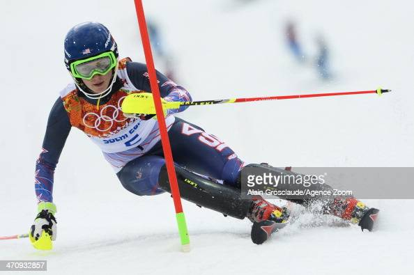 Mikaela Shiffrin of the USA competes during the Alpine Skiing Women's Slalom at the Sochi 2014 Winter Olympic Games at Rosa Khutor Alpine Centre on...