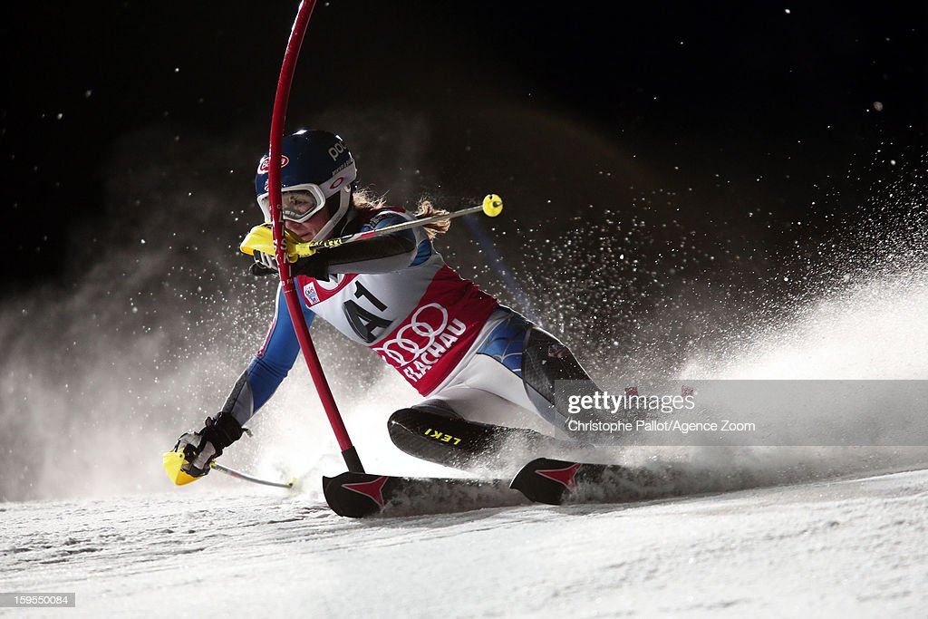 Mikaela Shiffrin of the USA competes during the Audi FIS Alpine Ski World Cup Women's Slalom on January 15, 2013 in Flachau, Austria.
