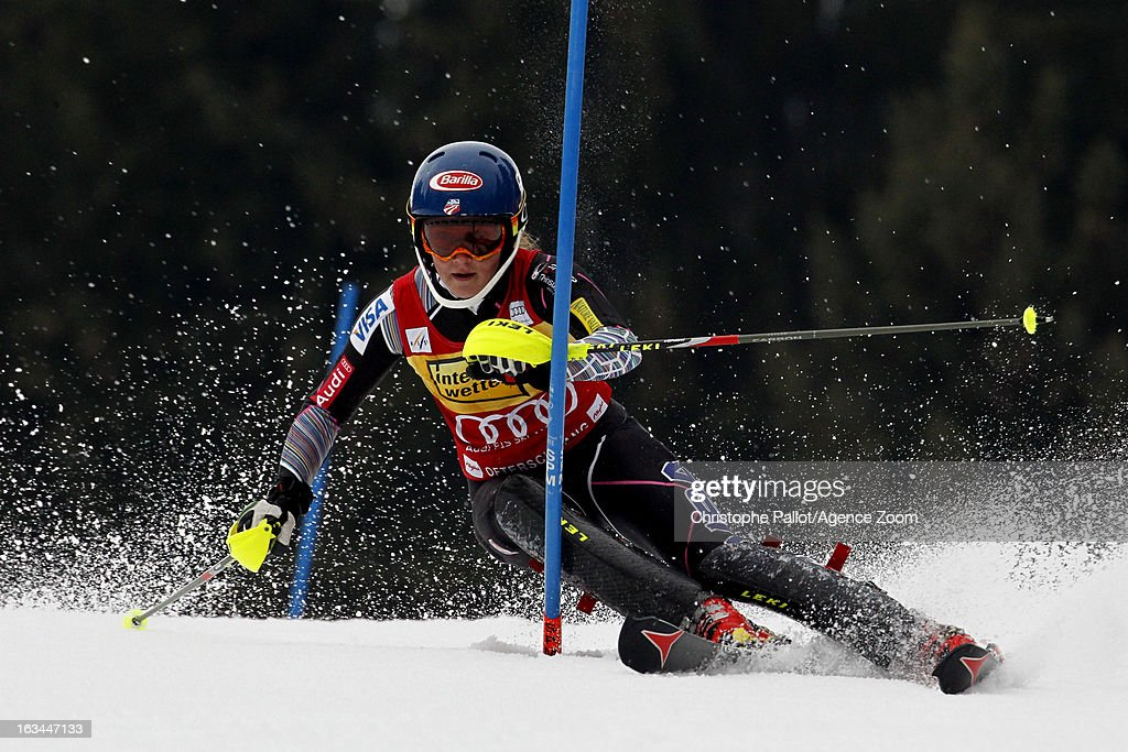 <a gi-track='captionPersonalityLinkClicked' href=/galleries/search?phrase=Mikaela+Shiffrin&family=editorial&specificpeople=7472698 ng-click='$event.stopPropagation()'>Mikaela Shiffrin</a> of the USA competes during the Audi FIS Alpine Ski World Cup Women's Slalom on March 10, 2013 in Ofterschwang, Germany.