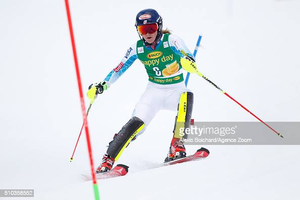 Mikaela Shiffrin of the USA competes during the Audi FIS Alpine Ski World Cup Women's Slalom on February 15 2016 in Crans Montana Switzerland
