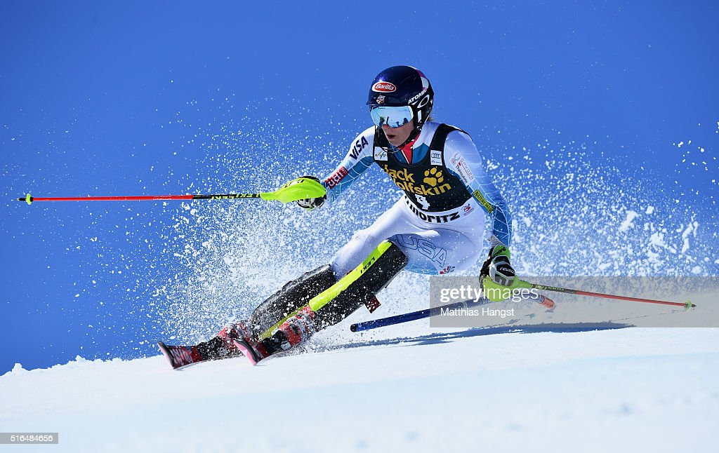 <a gi-track='captionPersonalityLinkClicked' href=/galleries/search?phrase=Mikaela+Shiffrin&family=editorial&specificpeople=7472698 ng-click='$event.stopPropagation()'>Mikaela Shiffrin</a> of the USA competes during the Audi FIS Alpine Ski World Cup Finals Women's Slalom on March 19, 2016 in St Moritz, Switzerland.