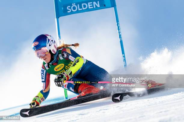 Mikaela Shiffrin of the USA competes during the women's Giant Slalom event of the FIS ski World cup in Soelden Austria on October 28 2017 / AFP PHOTO...
