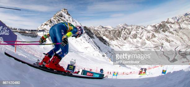 Mikaela Shiffrin of the USA competes during the women's Giant Slalom event of the FIS ski World cup in Soelden Austria on October 28 2017 Viktoria...
