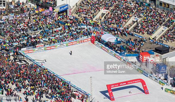 Mikaela Shiffrin of The USA crosses the finish line during the Audi FIS Ski World Cup women's giant slalom race on the Rettenbach Glacier on 24...