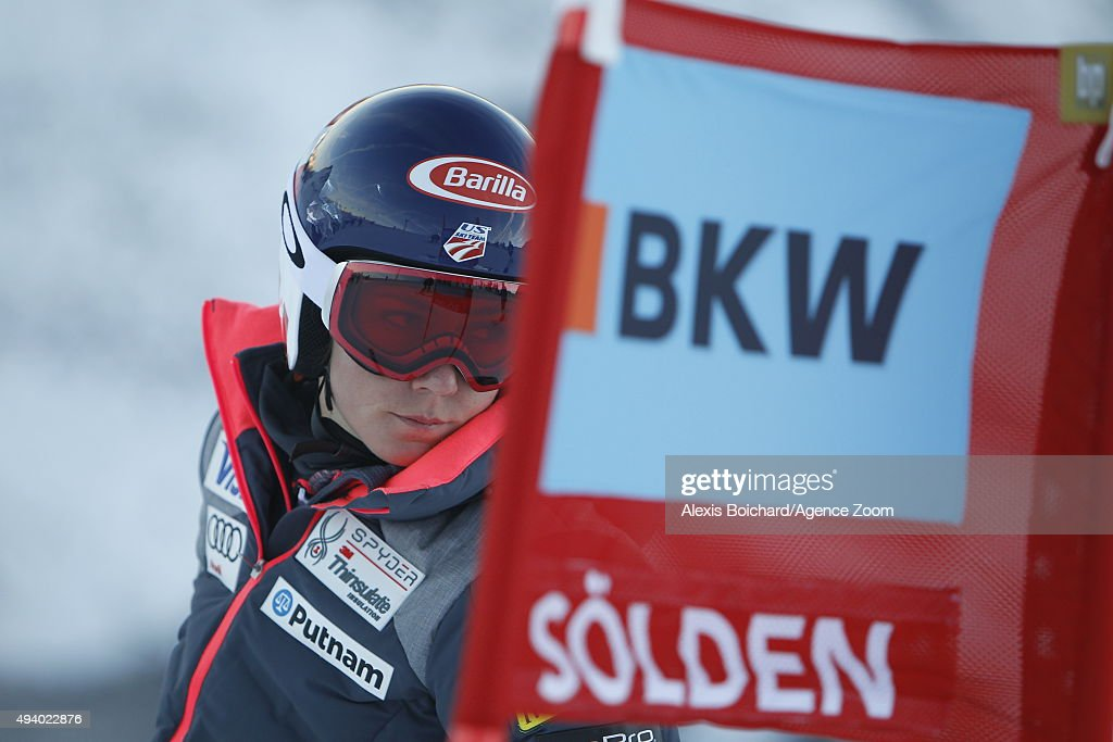 Mikaela Shiffrin of the USA during inspection at the Audi FIS Alpine Ski World Cup Women's Giant Slalom on October 24 2015 in Soelden Austria