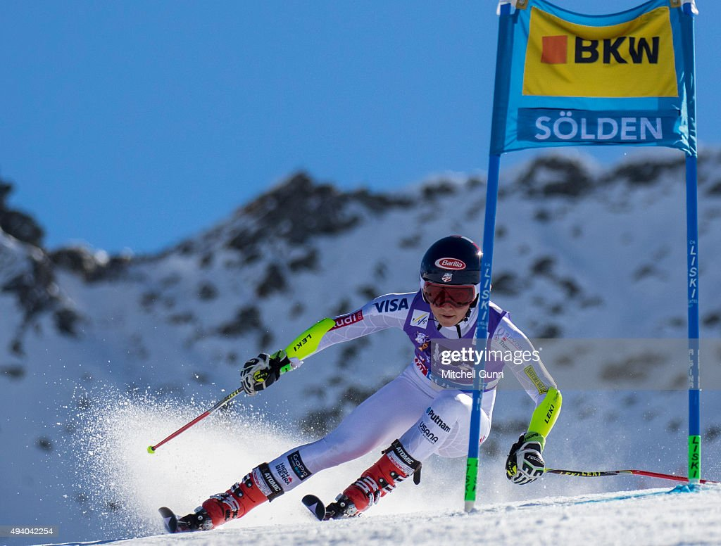 Mikaela Shiffrin of The USA during the Audi FIS Ski World Cup women's giant slalom race on the Rettenbach Glacier on 24 October 2015 in Soelden...