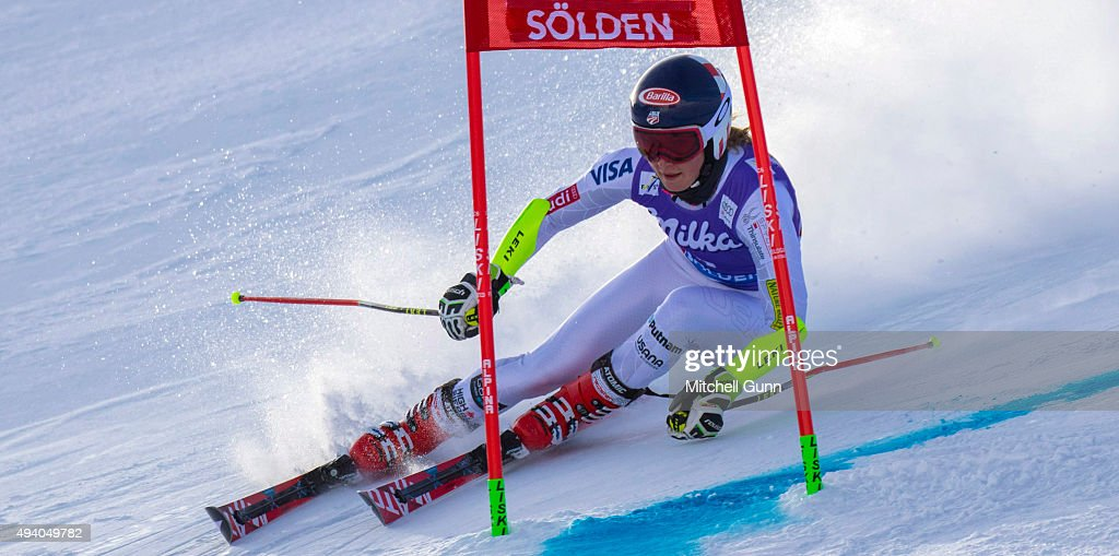 Mikaela Shiffrin of The USA during the Audi FIS Ski World Cup women's giant slalom race on the Rettenbach Glacier on October 24 2015 in Soelden...