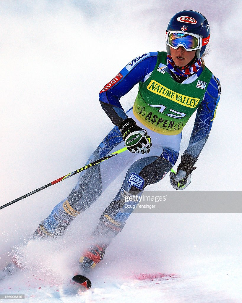 Mikaela Shiffrin of the USA finishes her second run as she finished ninth in the women's giant slalom at the Nature Valley Aspen Winternational Audi FIS Ski World Cup at Aspen Mountain on November 24, 2012 in Aspen, Colorado.