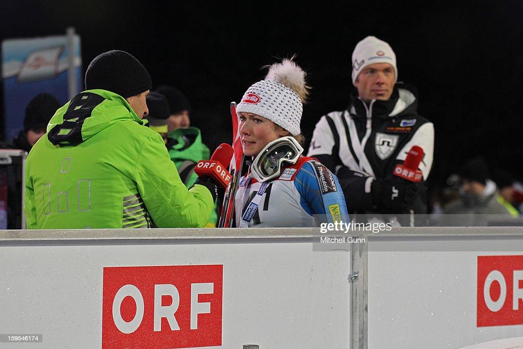 Mikaela Shiffrin of the USA gets interviewed live on Austrian TV after winning the Audi FIS Alpine Ski World Cup Slalom race on January 15, 2013 in Flachau, Austria.