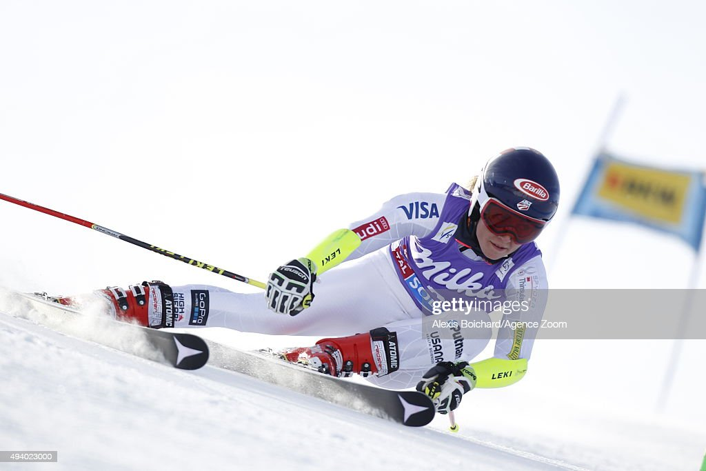 Mikaela Shiffrin of the USA in action during the Audi FIS Alpine Ski World Cup Women's Giant Slalom on October 24 2015 in Soelden Austria