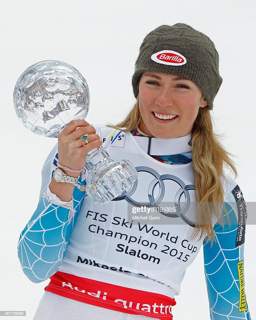 <a gi-track='captionPersonalityLinkClicked' href=/galleries/search?phrase=Mikaela+Shiffrin&family=editorial&specificpeople=7472698 ng-click='$event.stopPropagation()'>Mikaela Shiffrin</a> of The USA poses with the crystal globe for the overall slalom winner after the FIS Alpine Ski World Cup women's slalom race on March 21, 2015 in Meribel, France.