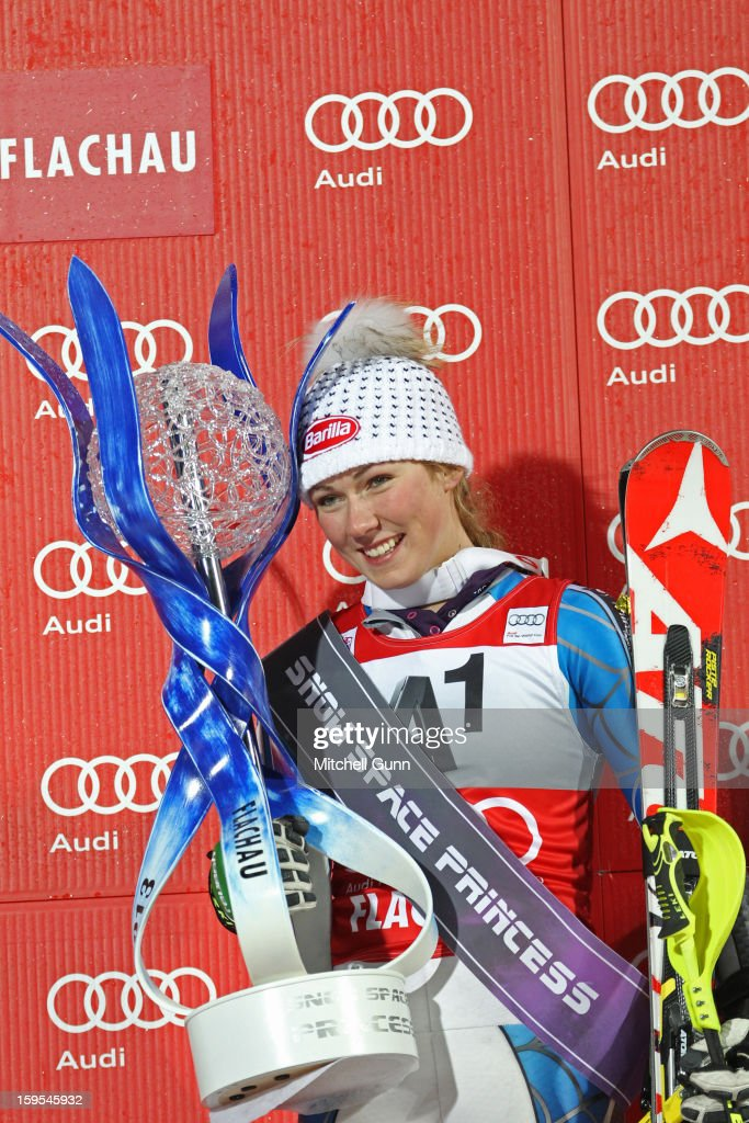 <a gi-track='captionPersonalityLinkClicked' href=/galleries/search?phrase=Mikaela+Shiffrin&family=editorial&specificpeople=7472698 ng-click='$event.stopPropagation()'>Mikaela Shiffrin</a> of the USA poses with the Snow Princess Trophy after winning the Audi FIS Alpine Ski World Cup Slalom race on January 15, 2013 in Flachau, Austria.