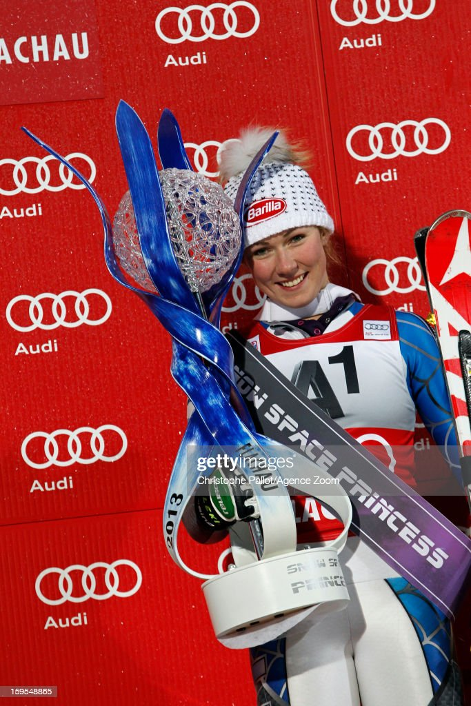 Mikaela Shiffrin of the USA poses with the trophy after taking 1st place during the Audi FIS Alpine Ski World Cup Women's Slalom on January 15, 2013 in Flachau, Austria.