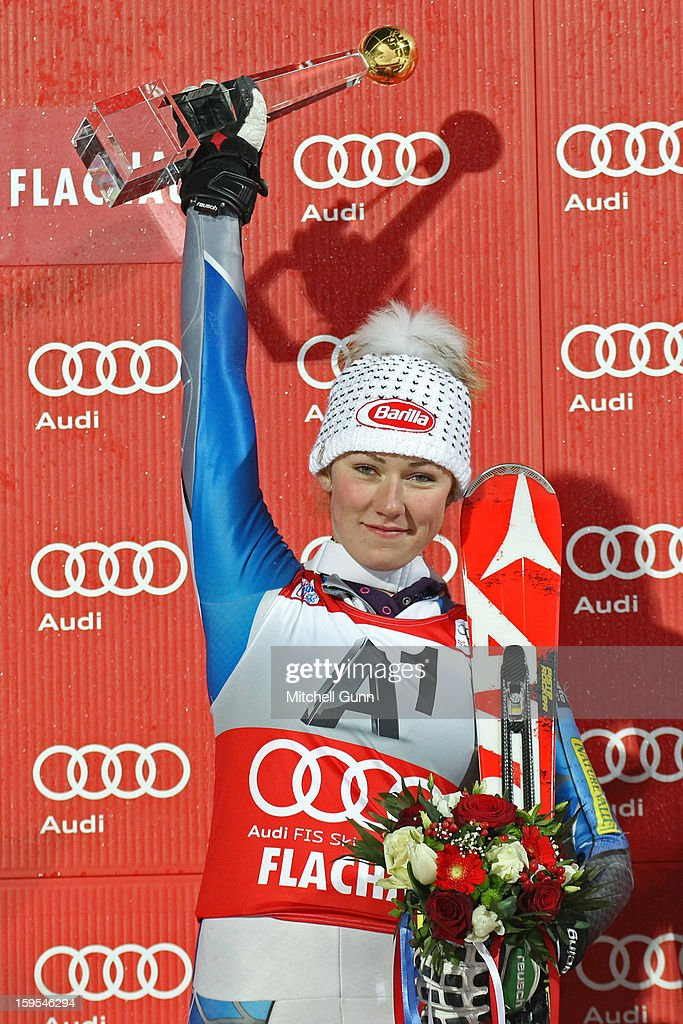 Mikaela Shiffrin of the USA poses with the trophy after winning the Audi FIS Alpine Ski World Cup Slalom race on January 15, 2013 in Flachau, Austria.