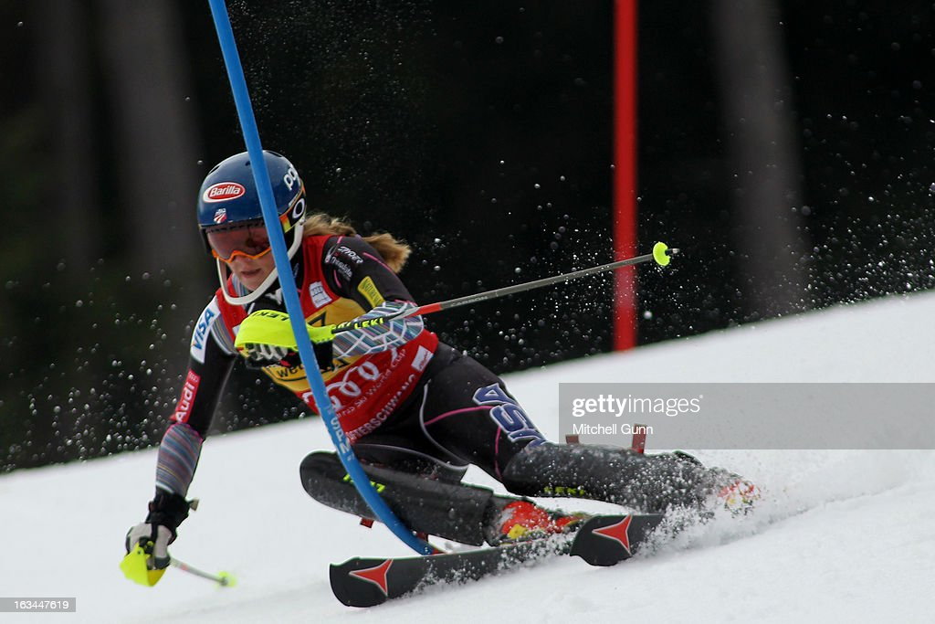 Mikaela Shiffrin of the USA races down the course whilst competing in the Audi FIS Alpine Ski World Cup Women's Slalom on March 10, 2013 in Ofterschwang, Germany.