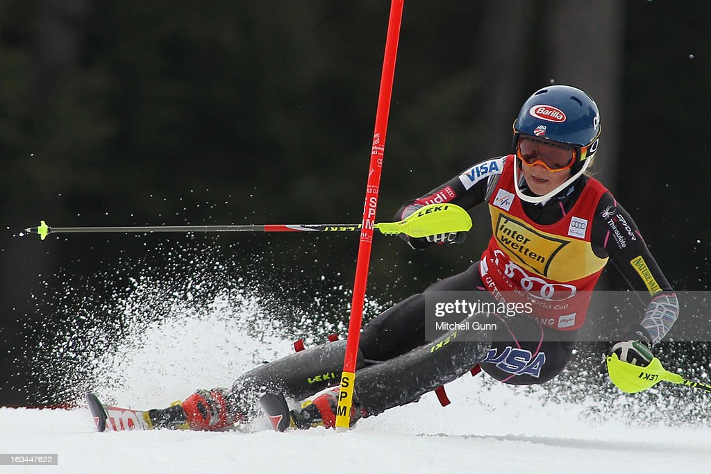 <a gi-track='captionPersonalityLinkClicked' href=/galleries/search?phrase=Mikaela+Shiffrin&family=editorial&specificpeople=7472698 ng-click='$event.stopPropagation()'>Mikaela Shiffrin</a> of the USA races down the course whilst competing in the Audi FIS Alpine Ski World Cup Women's Slalom on March 10, 2013 in Ofterschwang, Germany.
