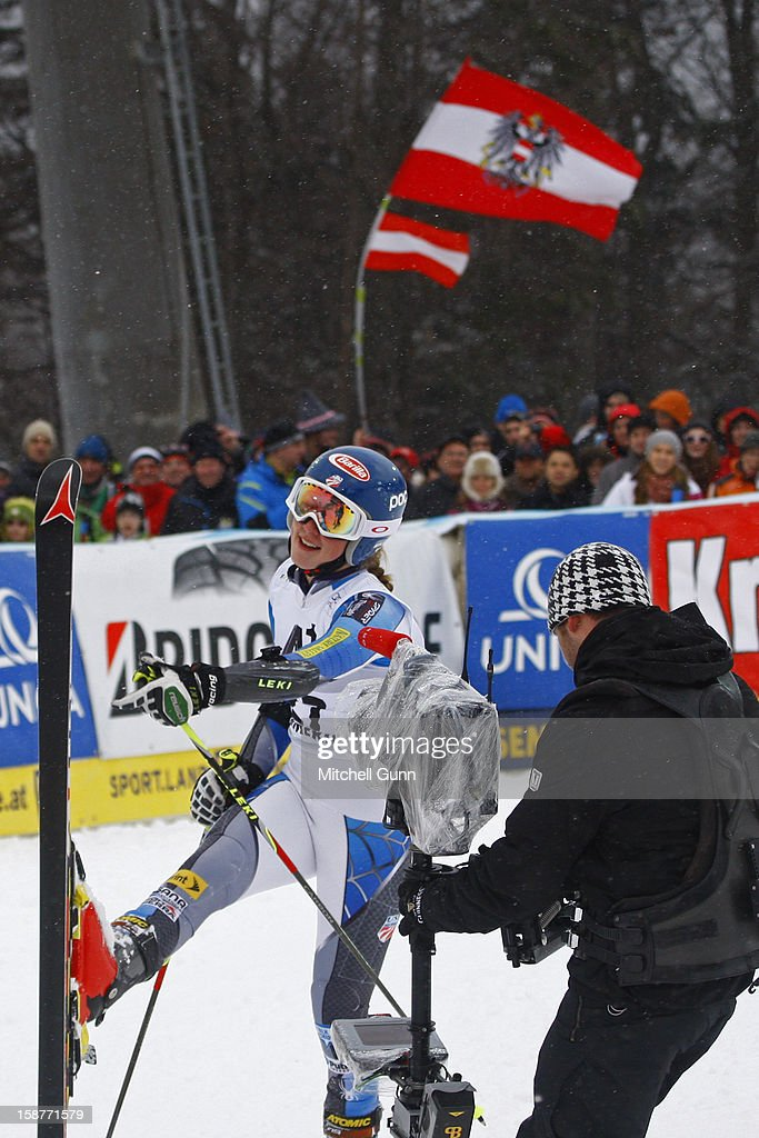 Mikaela Shiffrin of the USA reacts in the finish area after competing in the Audi FIS Alpine Ski World Cup Giant Slalom Race on 28 December 2012 in Semmering, Austria.