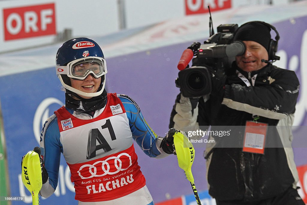 Mikaela Shiffrin of the USA reacts in the finish area after winning the Audi FIS Alpine Ski World Cup Slalom race on January 15, 2013 in Flachau, Austria.