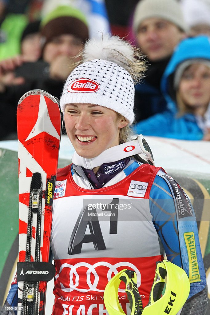 Mikaela Shiffrin of the USA reacts in the finish area after winning the Audi FIS Alpine Ski World Cup Slalom race on January 15, 2013 in Flachau, Austria.