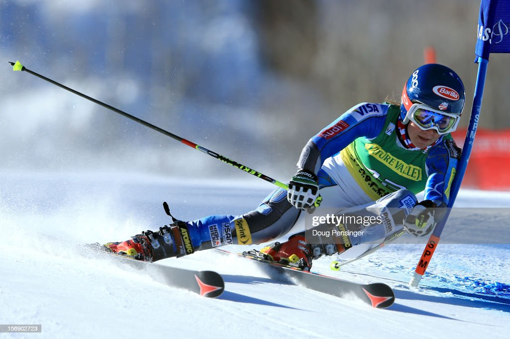 Mikaela Shiffrin of the USA skis the first run of the women's giant slalom at the Nature Valley Aspen Winternational Audi FIS Ski World Cup at Aspen Mountain on November 24, 2012 in Aspen, Colorado.