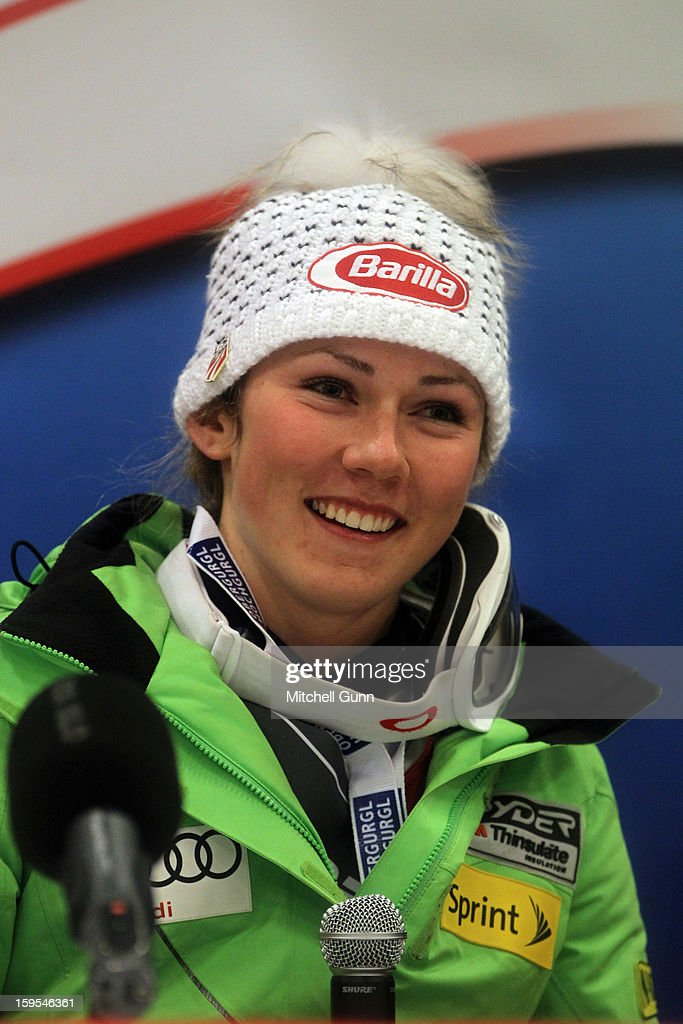 Mikaela Shiffrin of the USA smiles during her press conference after winning the Audi FIS Alpine Ski World Cup Slalom race on January 15, 2013 in Flachau, Austria.