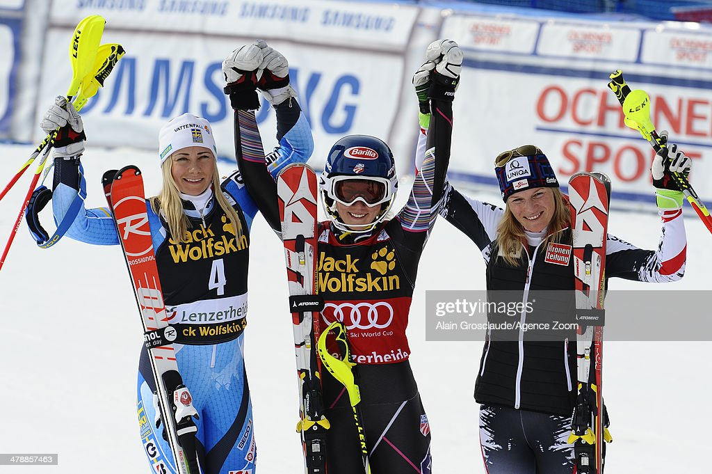 <a gi-track='captionPersonalityLinkClicked' href=/galleries/search?phrase=Mikaela+Shiffrin&family=editorial&specificpeople=7472698 ng-click='$event.stopPropagation()'>Mikaela Shiffrin</a> of the USA takes 1st place and wins the overall slalom World Cup globe, <a gi-track='captionPersonalityLinkClicked' href=/galleries/search?phrase=Frida+Hansdotter&family=editorial&specificpeople=4140483 ng-click='$event.stopPropagation()'>Frida Hansdotter</a> of Sweden takes 2nd place and comes second in the overall slalom World Cup, <a gi-track='captionPersonalityLinkClicked' href=/galleries/search?phrase=Marlies+Schild&family=editorial&specificpeople=209135 ng-click='$event.stopPropagation()'>Marlies Schild</a> of Austria takes 3rd place and comes third in the overall slalom World Cup during the Audi FIS Alpine Ski World Cup Finals Women's Slalom on March 15, 2014 in Lenzerheide, Switzerland.