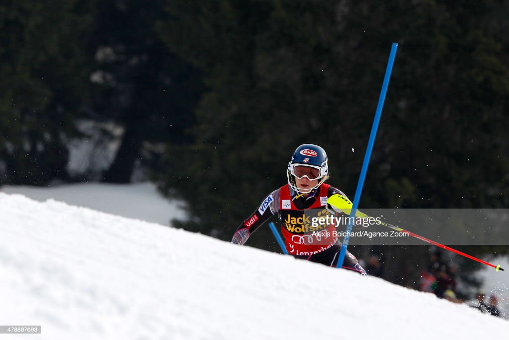 <a gi-track='captionPersonalityLinkClicked' href=/galleries/search?phrase=Mikaela+Shiffrin&family=editorial&specificpeople=7472698 ng-click='$event.stopPropagation()'>Mikaela Shiffrin</a> of the USA takes 1st place and wins the overall slalom World Cup globe during the Audi FIS Alpine Ski World Cup Finals Women's Slalom on March 15, 2014 in Lenzerheide, Switzerland.