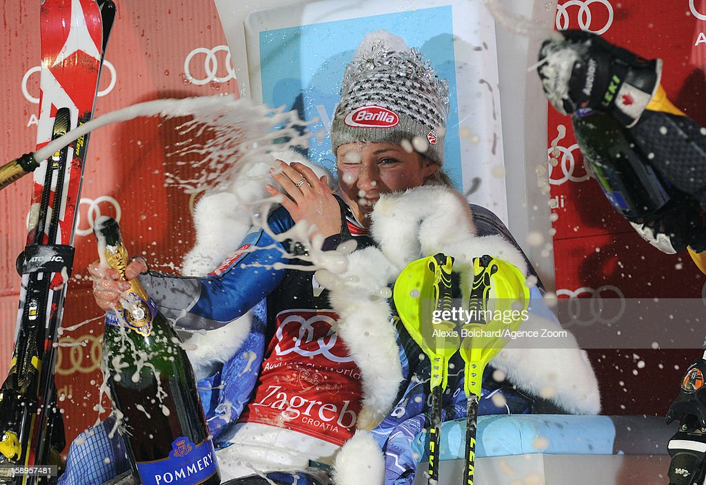 Mikaela Shiffrin of the USA takes 1st place during the Audi FIS Alpine Ski World Cup Women's Slalom on January 4, 2013 in Zagreb, Croatia.