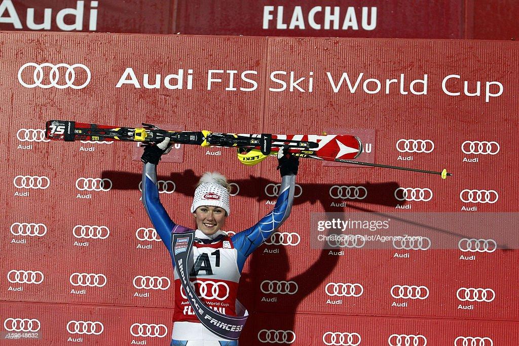 Mikaela Shiffrin of the USA takes 1st place during the Audi FIS Alpine Ski World Cup Women's Slalom on January 15, 2013 in Flachau, Austria.
