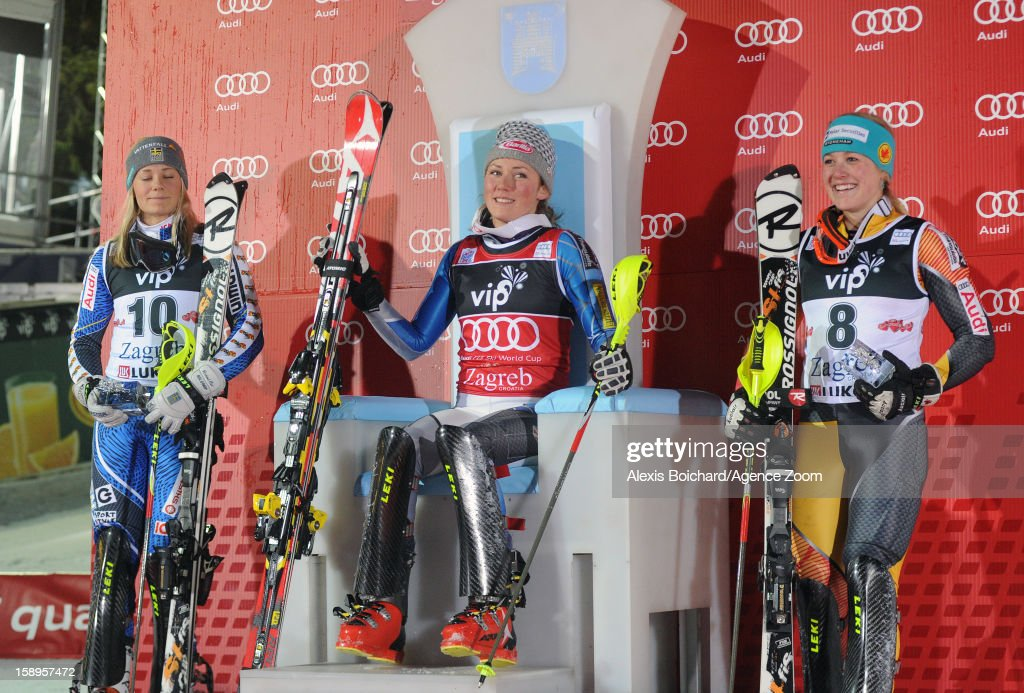 Mikaela Shiffrin of the USA takes 1st place,Frida Hansdotter of Sweden takes 2nd place,Erin Mielzynski of Canada takes 3rd place during the Audi FIS Alpine Ski World Cup Women's Slalom on January 4, 2013 in Zagreb, Croatia.