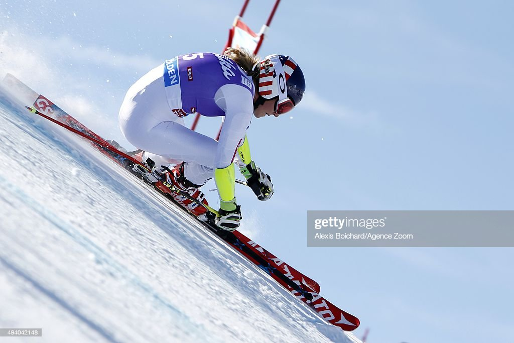 Mikaela Shiffrin of the USA takes 2nd place during the Audi FIS Alpine Ski World Cup Women's Giant Slalom on October 24 2015 in Soelden Austria