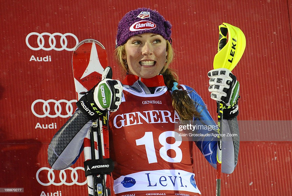 Mikaela Shiffrin of the USA takes 3rd place during the Audi FIS Alpine Ski World Cup Women's Slalom on November 10, 2012 in Levi, Finland.