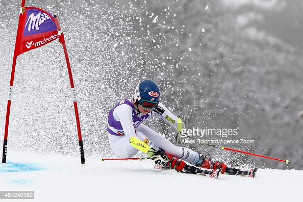 Mikaela Shiffrin of the USA takes 3rd place in the overall Giant Slalom World Cup during the Audi FIS Alpine Ski World Cup Finals Women's Giant...