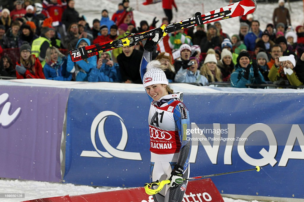 Mikaela Shiffrin of the USA takes celebrates after taking 1st place during the Audi FIS Alpine Ski World Cup Women's Slalom on January 15, 2013 in Flachau, Austria.