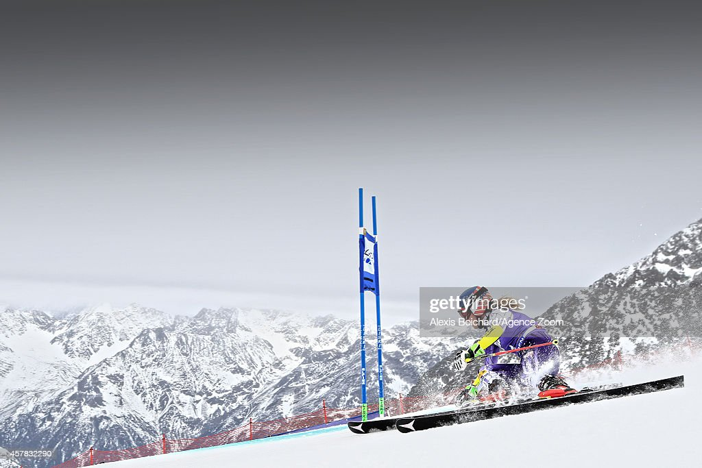 Mikaela Shiffrin of the USA takes joint first place during the Audi FIS Alpine Ski World Cup Women's Giant Slalom on October 25 2014 in Soelden...