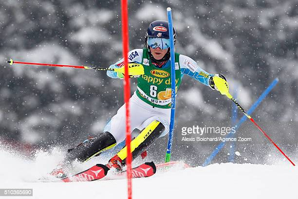 Mikaela Shiffrin of the USA takes the 1st place during the Audi FIS Alpine Ski World Cup Women's Slalom on February 15 2016 in Crans Montana...