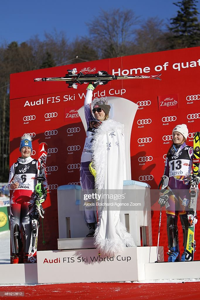 <a gi-track='captionPersonalityLinkClicked' href=/galleries/search?phrase=Mikaela+Shiffrin&family=editorial&specificpeople=7472698 ng-click='$event.stopPropagation()'>Mikaela Shiffrin</a> of the USA takes the 1st place,<a gi-track='captionPersonalityLinkClicked' href=/galleries/search?phrase=Kathrin+Zettel&family=editorial&specificpeople=2113891 ng-click='$event.stopPropagation()'>Kathrin Zettel</a> of Austria takes the 2nd place,<a gi-track='captionPersonalityLinkClicked' href=/galleries/search?phrase=Nina+Loeseth&family=editorial&specificpeople=4157062 ng-click='$event.stopPropagation()'>Nina Loeseth</a> of Norway takes the 3rd place during the Audi FIS Alpine Ski World Cup Women's Slalom on January 04, 2015 in Zagreb, Croatia.