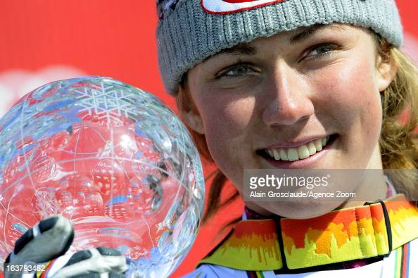 Mikaela Shiffrin of the USA takes the globe for the overall World Cup Slalom during the Audi FIS Alpine Ski World Cup Women's Slalom on March 16 2013...