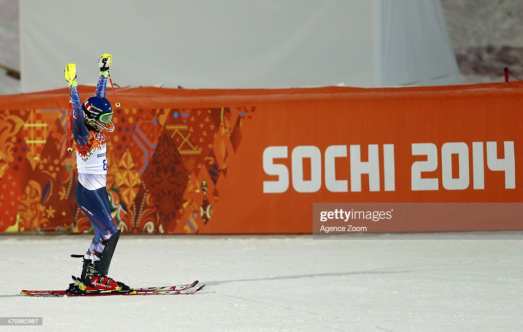 <a gi-track='captionPersonalityLinkClicked' href=/galleries/search?phrase=Mikaela+Shiffrin&family=editorial&specificpeople=7472698 ng-click='$event.stopPropagation()'>Mikaela Shiffrin</a> of the USA wins the gold medal during the Alpine Skiing Women's Slalom at the Sochi 2014 Winter Olympic Games at Rosa Khutor Alpine Centre on February 21, 2014 in Sochi, Russia.